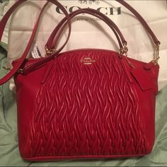 """Coach Kelsey Bag Coach Small Kelsey Satchel In Gathered Twist Leather Classic Red F37081 NWT Gathered twist leather Inside zip, cell phone and multifunction pockets Zip-top closure, fabric lining Handles with 5 1/2"""" drop Longer strap with 22"""" drop for shoulder or crossbody wear 13 1/2"""" (L) x 8 1/2"""" (H) x 3 1/4"""" (W) Coach Bags Satchels"""