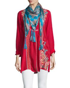 -6GMS Johnny Was Collection  Sheela Embroidered Long Tunic
