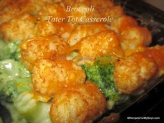 Broccoli Tater Tot Casserole  24 oz. frozen broccoli cuts  1 cup leftover ham, chicken, pork or beef, optional  1 cup cheddar french fried onions, optional  32 oz. bag frozen tater tots, you may not use them all  10 oz. can cream of broccoli soup  10 oz. can cream of potato soup  1/2  cup milk, or a little more if needed  salt and pepper to taste  1/4 to 1 cup cheddar cheese, finely grated