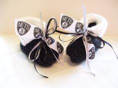 Brooklyn NETS Basketball Fans!! Handmade Baby Booties by ZZsTeamTime on Etsy