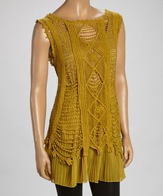 Another great find on #zulily! Mustard Linen-Blend Sleeveless Tunic #zulilyfinds
