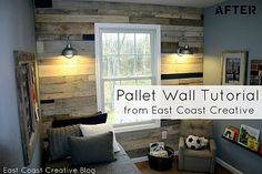 Pallet Wall Tutorial http://www.eastcoastcreativeblog.com/2011/10/pallet-possibilities-pallet-wall.html