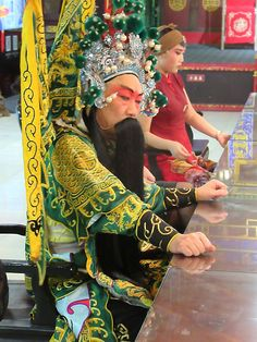 An actor prepares for his role as a general in a traditional Sichaun opera at the Shufengya Yun Teahouse in Chengdu, China. Chengdu, Opera, China, Actors, Traditional, Fashion, Moda, Opera House, Fashion Styles