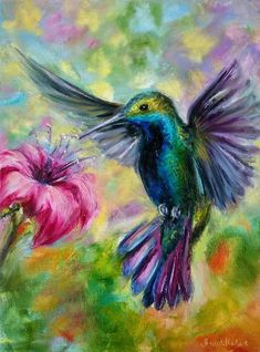 Bird Painting Acrylic, Hummingbird Painting, Acrylic Painting Flowers, Spring Painting, Flower Paintings On Canvas, Hummingbird Wallpaper, Flower Artwork, Heart Painting, Colorful Artwork