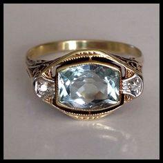 Antique Edwardian Aquamarine Diamond 14K Gold Filigree Ring