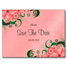Hibiscus Pink Floral Custom Save The Date Cardse- **LOOKING for Wedding Matching Stationery Sets ?- PLEASE VISIT...  http://www.zazzle.com/weddinginvitationkit