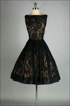 Lacy & Elegant Cocktail Dress~ A Jack Stern Originals' gold acetate lining with sheer black lace overlay; full, pleated skirt What a stunning little black dress! Pretty Outfits, Pretty Dresses, Beautiful Outfits, Vintage 1950s Dresses, Vintage Outfits, Vintage Prom, Vintage Black, Vintage Clothing, Sheer Dress