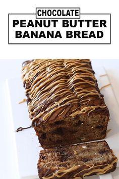 Butter Bread Recipe, Peanut Butter Banana Bread, Chocolate Chip Banana Bread, Chocolate Peanut Butter, Chocolate Chips, Easy Snacks, Snacks Recipes, Dessert Recipes, Brunch Recipes
