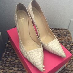 "Kate Spade Leann Heels Gorgeous heels. Very worn. Still so much wear in them. Heel tips can be replaced fairly inexpensively. Heel height measures 4"". Comes with original box. Color is Natural/glitter snake kate spade Shoes Heels"