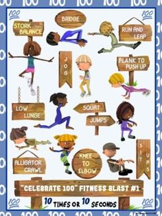 Celebrate 100 Fitness Blasts- 10 FUN Workouts- Great for Distance Learning Flip Cards, Bingo Cards, High School Health, Animal Movement, Card Workout, Pe Activities, Pe Lessons, Mini Workouts, Pe Games