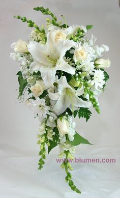 Wedding bouquets; Pittsburgh Weddings; Wedding Flowers; Blumengarten  white cascade bride's bouquet with oriental lilies, roses, snapdragon, daisy pomps and baby's breath (100$)