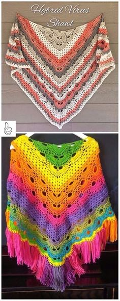 Crochet Shawl Crochet Shawl Patterns - Crochet Virus Meets Granny Shawl Free Pattern - Crochet Shawl Patterns for Women All Seasons: Crochet shawl for cool evening and coming fall. Shawl wrap for ladies, free pattern and paid Crochet Shawl Free, Crochet Shawls And Wraps, Crochet Scarves, Shawl Patterns, Knitting Patterns, Crochet Patterns, Free Knitting, Crochet Crafts, Crochet Projects