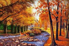 2015 NEW DIY Diamond Painting Red Maple River Creative Gift sewing rhinestones hand embroidery cross stitch Cross Stitch Embroidery, Hand Embroidery, Autumn Park, Fall, 5d Diamond Painting, Creative Gifts, Serenity, Sewing Crafts, Arts And Crafts