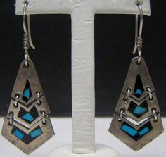 925 SOLID STERLING SILVER TURQUOISE ONYX TAXCO MEXICO DANGLE EARRINGS 10.9g