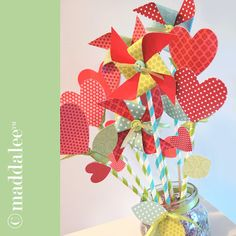 """Paper Arts, Silhouette Cameo Cut & Print Files, Crafts, Home Decor, Recipes: """"Blow-a-Kiss"""" Hearts and Pinwheel Bouquet, Print and Cut files, Tutorial"""