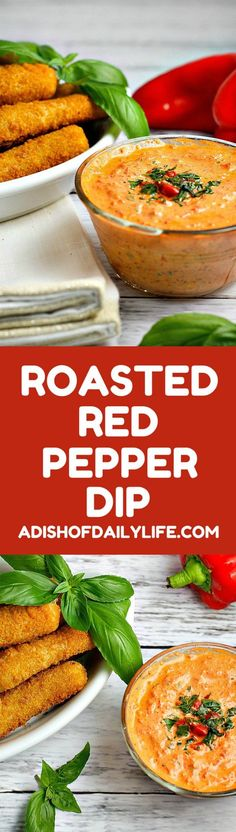 This easy 5 minute Roasted Red Pepper Dip recipe is a delicious way to dress up mozzarella sticks or cut up vegetables on game day!