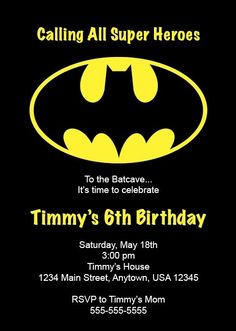 kids birthday party invitation Of the Best Ideas for Batman Birthday I - Batman Party - Ideas of Batman Party - kids birthday party invitation Of the Best Ideas for Batman Birthday Invitations Batman Birthday, Batman Party, Superhero Birthday Party, 6th Birthday Parties, Birthday Fun, Lego Batman, Birthday Ideas, Kids Birthday Party Invitations, Birthday Invitation Templates