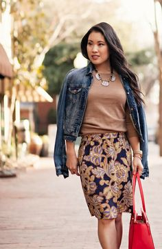 cute & little blog | petite fashion | spring paisley denim layering | jean jacket, paisley skirt, ankle booties, statement necklace, kate spade elissa red bag
