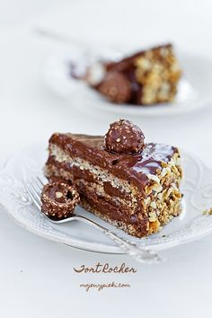 Slice of Ferrero Rocher Cake oh my glob!