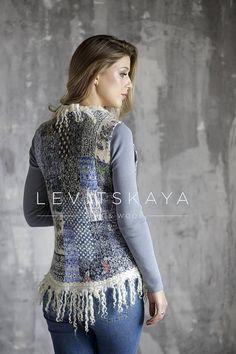 Blue Patchwork Nuno Felted Warm Women's Woolen Vest