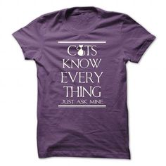 Cats Know Everything... Just Ask Them - #sweatshirt menswear #sweater shirt. CHECK PRICE => https://www.sunfrog.com/Pets/Cats-Know-Everything-Just-Ask-Them-Purple-Guys.html?68278