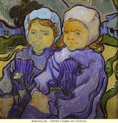 Vincent van Gogh Two Little Girls painting for sale - Vincent van Gogh Two Little Girls is handmade art reproduction; You can buy Vincent van Gogh Two Little Girls painting on canvas or frame. Vincent Van Gogh, Art Van, Oil On Canvas, Canvas Art, Canvas Prints, Painting & Drawing, Painting Prints, Van Gogh Arte, Van Gogh Museum