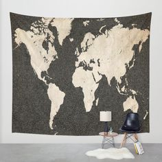 World Map - Ink lines Wall Tapestry by Map Map Maps | Society6