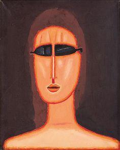 Jerzy Nowosielski | GIRL IN GLASSES, 1992 | oil on canvas