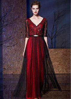 #Dressilyme - #Dressilyme Dressilyme In Stock Marvelous Tulle & Stretch Charmeuse V-neck Neckline Half Sleeves A-line Prom Dresses With Sash - AdoreWe.com