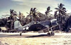 "F4U-1 Corsair in VMF 214 (""Black Sheep"" squadron), Torokina airstrip, Bougainville, December 1943."