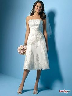 Asymmetrical Waistline Appliqued  Short Wedding Dress