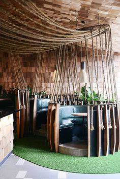 The Terminus Hotel — Abbotsford, Melbourne, textured rope installation Restaurant Design, Cafe Restaurant, Restaurant Banquette, Restaurant Seating, Commercial Design, Commercial Interiors, Cafe Interior, Interior And Exterior, Café Design