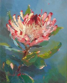 Copper piketberg protea. Oil. 11 x 14 in www.mybrushwithlife.co.za Abstract Flowers, Watercolor Flowers, Protea Art, Guache, Arte Floral, Art For Art Sake, Botanical Art, Illustration Art, Illustrations