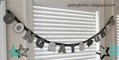 How to turn a premade congrats banner into this custom version! So easy to make: DIY 'Congratulations Graduate' Banner for grad party celebrations! Congratulations Banner, Congratulations Graduate, Creative Inspiration, Creative Ideas, Diy Ideas, Graduation Banner, Diy Banner, Funky Junk, Diy Home Decor Projects