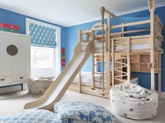 50 great ideas for a bunk bed with slide that everyone will love - bunk beds Bunk Bed With Slide, Bunk Beds With Stairs, Kids Bunk Beds, Childrens Bed With Slide, Boys Bedroom Ideas With Bunk Beds, Cool Kids Beds, Toddler Bed With Slide, Bunk Bed Tent, Bed Slide