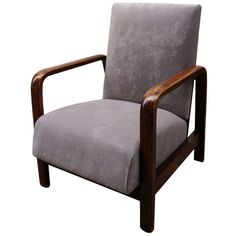 Walnut frame is in original condition; new  gray cotton upholstery. Chair is in very good, antique condition .