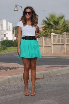 Tiffany blue skirt brown belt and white v-neck