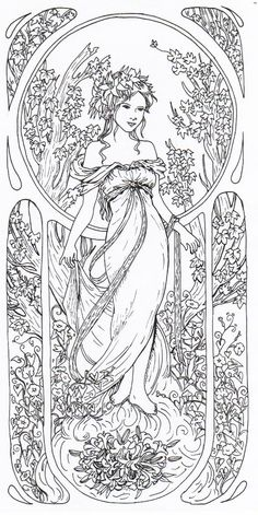 Tribute to Alfons Mucha Ausmalbild Adult Coloring Book Pages, Free Coloring Pages, Printable Coloring Pages, Coloring Books, Colorful Drawings, Colorful Pictures, Zentangle, Alphonse Mucha, Art And Illustration