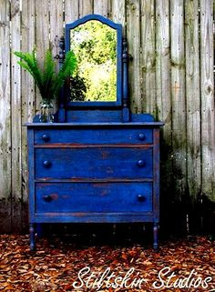 Painted dresser with mirrow very blue  (cobalt blue) - This I really like 2/2013