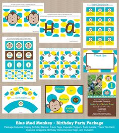 Blue & Yellow Mod Monkey Birthday Party Package by Honeyprint, $32.00