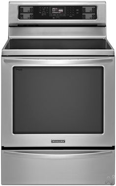 """$1400 - KitchenAid KERS306BSS 30"""" Freestanding Electric Range with 5 Radiant Elements, 6.2 cu. ft. Convection Oven, EvenHeat Technology, AquaLift Se..."""