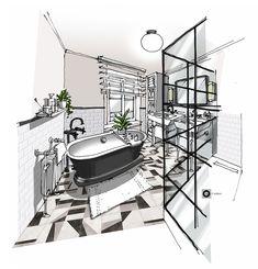 Croquis architecture intérieure-Dominique JEAN pour EDECO Rénovation- Baignoire en ilot-verrière noire-Carreaux de métro.