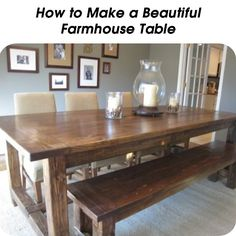 How to Make a Beautiful Farmhouse Table  - http://www.hometipsworld.com/how-to-make-a-beautiful-farmhouse-table.html