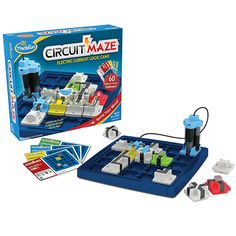 Thinkfun Circuit Maze - In Circuit Maze ignite your logic and sequential reasoning skills by arranging tokens to create real circuits that light up different coloured Beacons. A wonderful introduction to electrical engineering, this smart circuit-building puzzle has 60 challenges from beginner to expert provides hours of electrifying fun. // Jr Toy Company #Toys #Kids #Learning #Coding www.kidssciencetoys.ca