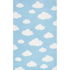 Viv + Rae Lily Cloudy Sachiko Hand-Tufted Blue Area Rug | Wayfair Kids Area Rugs, Blue Area Rugs, Blue Rugs, Orange Rugs, Shapes For Kids, Clouds Pattern, Area Rug Sizes, Pink Abstract, Online Home Decor Stores