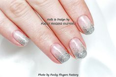 Gelish Silver Glitter Ombre nails by FUNKY FINGERS FACTORY