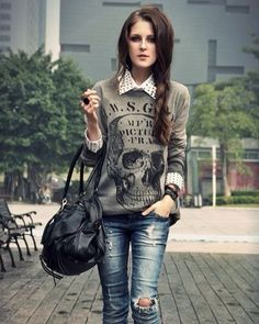 Outfit  #skullstyle #luxury #life #lifestyle #womensware #skull #skulls #style #badass #men #menfashion #mensware #millionaire #geek #luxurylife #luxurylifestyle #fashion #women #womensfashion #exotic #womensstyle #catrina #success #black #sweater #tattoo #girlswithtattoos #classy #lady #outfit
