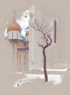 Денис Коробков Landscape Drawings, Landscape Art, Art Drawings, Cityscape Drawing, Sketch Painting, Pastel Drawing, Pastel Art, Pastel Landscape, Color Pencil Art