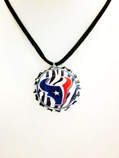 Houston Texans Bottlecap Suede Leather Necklace by mboulet on Etsy
