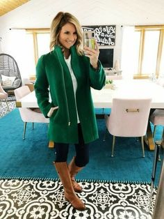Shop the Look from Living in Yellow on ShopStyle Winter Fashion // Outerwear // What to Wear with a Dress Coat // Dress Coat // Winter Coat // What to Wear with an Emerald Green Coat // City Coat // What to Wear with Riding Boots // Riding Boots Winter Outfits 2019, Winter Coat Outfits, Green Winter Coat, Green Coat, Green Top Outfit, Blusas Animal Print, J Crew Outfits, Quoi Porter, Fashion Clothes
